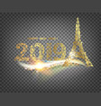eiffel tower icon with golden confetti 2019 sign vector image vector image