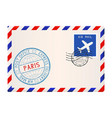 envelope with paris stamp international mail vector image vector image