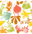 fall leaf and rosehip pattern vector image