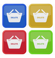 four square color icons shopping basket vector image