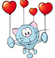 funny blue cat flying with balloon vector image