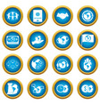 global connections icons blue circle set vector image vector image