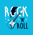 hand drawn rock and roll elements and slogan vector image vector image