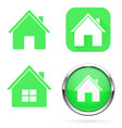home icons set green signs and buttons vector image