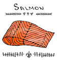 image steak of red fish salmon for seafood menu vector image vector image