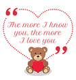 Inspirational love quote The more I know you the vector image
