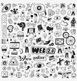 internet technology doodle set pencil drawings vector image vector image