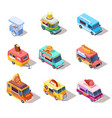 isometric street food trucks and carts selling vector image vector image