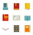 library icons set flat style vector image vector image