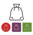 line icon of santa claus gifts bag vector image vector image