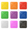 line style sword weapon icons set 9 colors vector image vector image