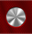 metal chrome round button on red perforated vector image vector image