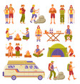 outdoor summer travel icons set vector image vector image