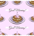 Pancakes Pink Seamless Pattern vector image vector image
