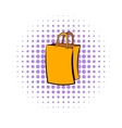 Paper shopping bag icon comics style vector image