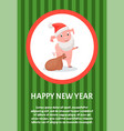 piglet symbol new year with gift sack poster vector image vector image