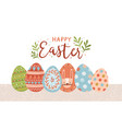 postcard template with happy easter lettering vector image