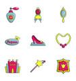 Princess icons set flat style vector image