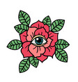 rose and eye tattoo with sacred geometry frame vector image vector image