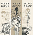 set banners for books shop in retro style vector image
