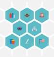 set of america icons flat style symbols with vector image