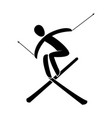 silhouette a freestyle skier jumping isolated vector image vector image