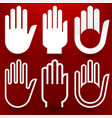 six hands icon in different styles over red vector image