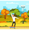 teenager on skateboard flat vector image vector image