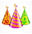 Three party hats on white vector image vector image