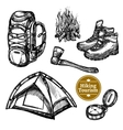 Tourism Camping Hiking Sketch Set vector image