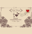 vintage valentine card with key heart and roses vector image vector image