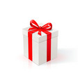 white cardboard box with red ribbon and bow gift vector image