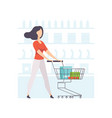 young woman choosing products on shelves and vector image vector image