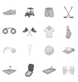 Golf icons set gray monochrome style vector image