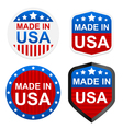 4 stickers - made in usa vector image