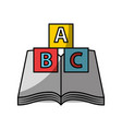text book school with blocks alphabet vector image
