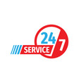24-7 service - concept badge design banner vector image