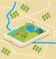 a mobile map of a campsite vector image vector image