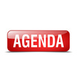 agenda red square 3d realistic isolated web button vector image vector image
