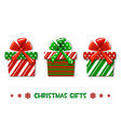 cartoon christmas green-red gifts vector image