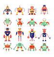 cartoon different robot collection in retro color vector image