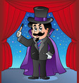 cartoon magician on circus stage vector image