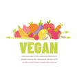 colorful vegan banner with flat vegetable icons vector image vector image