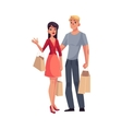 Couple of young man and woman with shopping bags vector image vector image