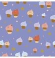 Cute funny seamless pattern with sweet cupcakes vector image