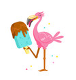 cute pink flamingo eating chocolate ice cream vector image