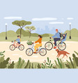 family on bikes parents and kids riding bikes vector image vector image