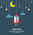 Flat Moon star and a rocket hanging on the ropes vector image vector image