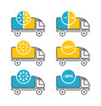 fridge truck and hot truck vector image