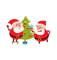 Funny Santa Claus and reindeer in red scarf vector image vector image